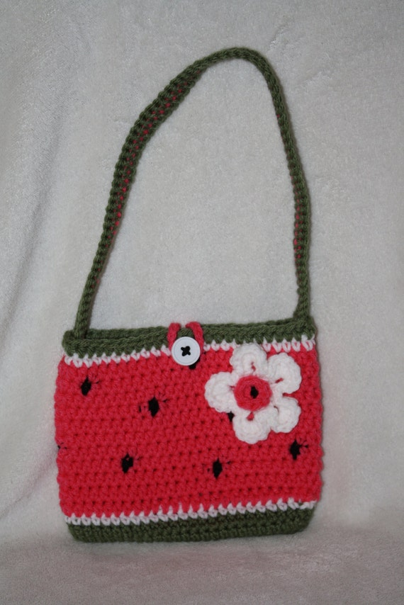 Crochet Purse For Child : Watermelon purse. Child size. Crochet. by TracyplusCrochet on Etsy