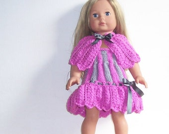 """Dolls Clothes, American Girl PDF knitting pattern for 18"""" doll,  Cape and Dress Set, also fits Gotz, and similar size dolls."""