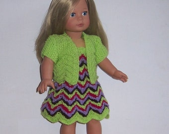 "Jacket and Sundress,  PDF knitting pattern for 18"" doll, dress, jacket and panties, fits American Girl, Gotz, and similar size dolls."