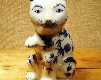 Vintage Ceramic Blue and White Kitty Figurine