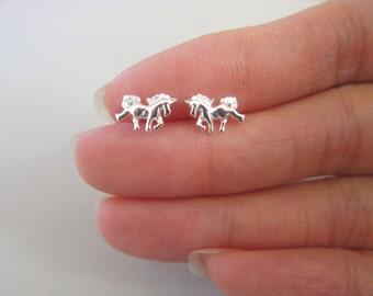 Tiny Sterling Silver Horse Stud Earrings, Unicorn Earrings, Children Jewelry, horse Jewelry, Animal Jewelry