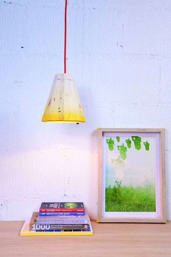 yellow pendant lamp shade handmade in recycled pallet wood. Black Bedroom Furniture Sets. Home Design Ideas