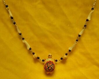 OOAK Handmade Satanic Fire Pentagram Skull with Bone Skulls and Timber Wolf Toe Bones Necklace Tribal Satanic Satan