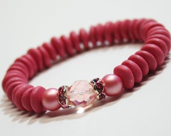 Stretch Bracelet, Pink Bracelet, Polyclay Beaded Bracelet, OOAK Jewelry