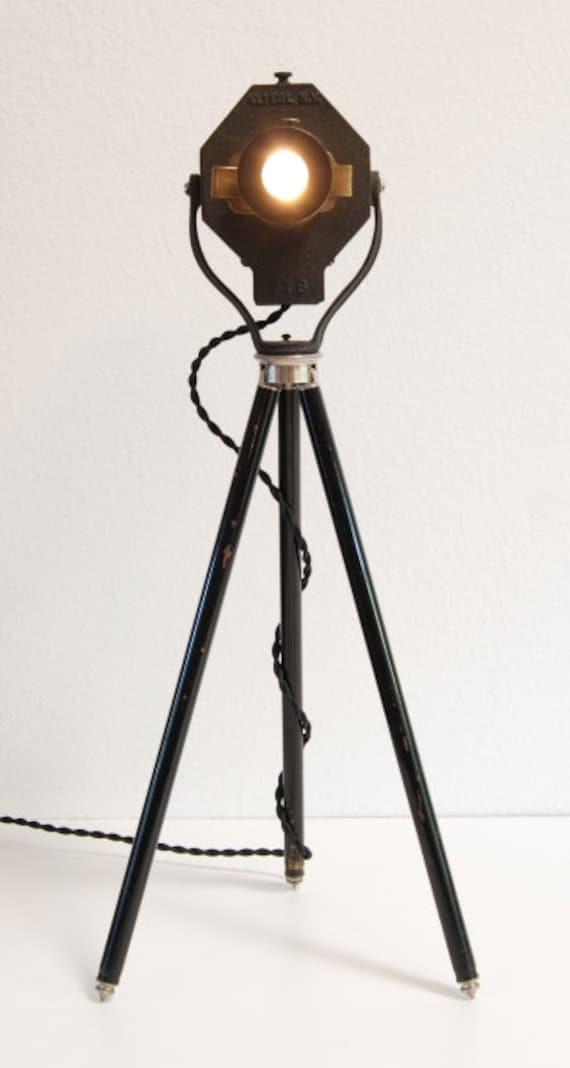 40 39 s vintage table desk tripod lamp theater stage - Tripod spotlight table lamp ...