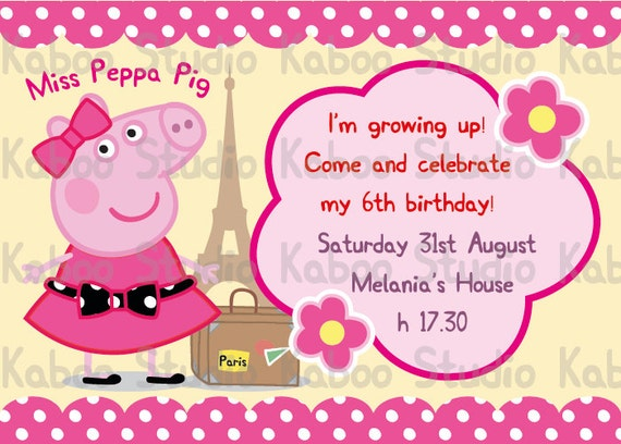 Peppa Pig Printable Birthday Decorations ~ Printable miss peppa pig birthday invitation by kaboostudio