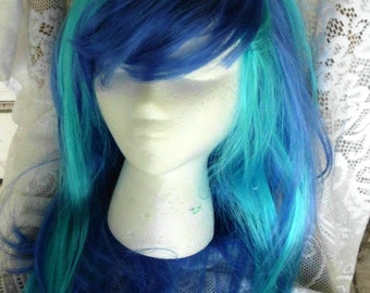 Blue Unicorn Wig Scratch DJ Pon 3 Vinyl Long Wig Unicorn Horn Costume Cosplay MLP my little pony cosplay