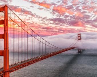 San Francisco Print Art - Romantic Golden Gate Bridge Photography - Beautiful Sunset Picture - Vibrant Stunning Colors - Red, Pink, Yellow