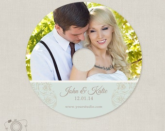 Wedding CD/DVD Label Template - C120, Instant Download