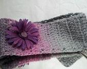 Flower headband style ear warmer, crocheted, women, teen girls, pink item - DreamCatcherDC