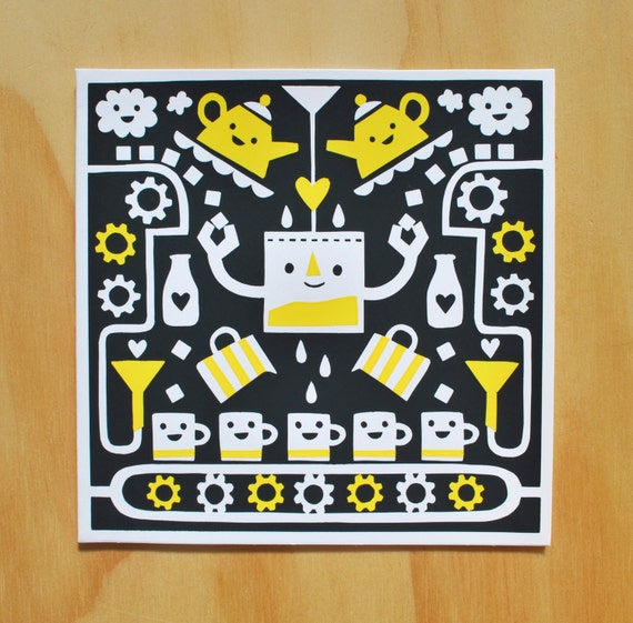 T-lab - A hand pulled screen printed greetings card