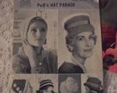 Original Pand B ,Patons and Beehive, Hat Parade 12 page booklet. No 9100. For 6 knitted hats.
