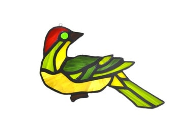 Stained glass bird dove suncatcher, window ornament, hanging home decor green yellow red colour