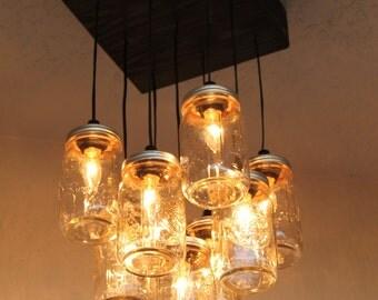 Mason Jar Chandelier  - Mason Jar Lighting - 9 Jar Lamp - Rustic Lighting - Kitchen Lamp - Dining Room Lamp - The Antuanet