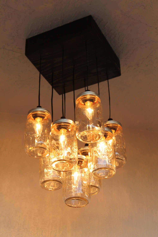 mason jar chandelier mason jar lighting 9 by. Black Bedroom Furniture Sets. Home Design Ideas
