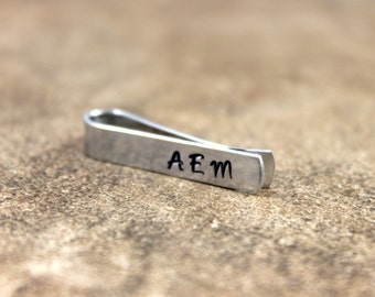 Skinny Tie Clip / Father's Day Gift / Men's Personalized Custom Hand Stamped Monogram Skinny Tie Clip / Custom Tie Bar / Custom Tie Clip