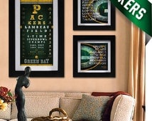 Green Bay Packers - 3 pt. Field Goal Combo - Eye Chart & Neon Prints -  Perfect Birthday, Anniversary or Father's Day - Unframed Prints