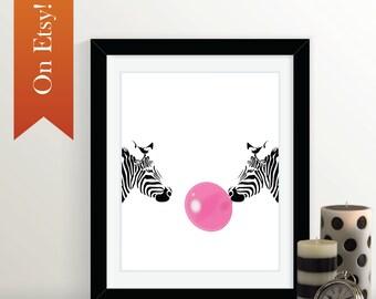 Zebra Print: Black and White, Zebras, 8x10, 16x20, 20x30, 24x36 Print, Bubblegum, Staring Contest