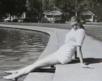 1950's Busty Bathing Beauty At Poolside Snapshot Photograph - Free Shipping