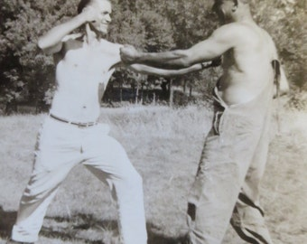 Vintage 1940 Brother Against Brother Fist Fight Showdown Snapshot Photograph - Free Shipping