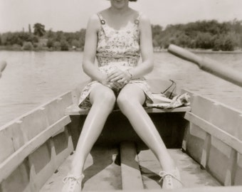 Awkward 1940's Knock Kneed Woman Poses Out On The Lake Snapshot Photo - Free Shipping