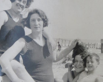 Silly Day At The Beach - 1910's Family Hams It Up On The Beach Snapshot Photo - Free Shipping