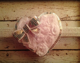 White Shabby Heart with Sequin and Bow Accents.....Newborn, Baby, Girls Photo Prop Bow, Baby Shower