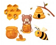 Honey Bee Clipart Scrapbook Pack Bear Bee Hive Honeycomb Honey Spoon Stick Branch Digital Scrapbooking INSTANT Download PNG