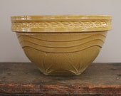 Antique Yellowware Bowl - McCoy Sunrise - Large - 10 1/2 Inches - Yellow - Sun Rise