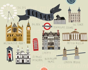 London Digital Clip Art - 23 Hand Drawn Illustrations - Commercial Use - .png files - instant download