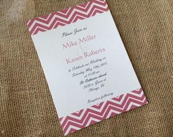 100 Wedding Invitations, invites  Red Chevron 100 Wedding Invitations