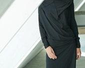 Black Top/ Loose Black Blouse/ Oversized Blouse/ Asymmetrical Black Top by AryaSense/ TPRD12BL