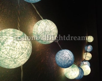 20 blue sky colors cotton ball string Lights for wedding new year