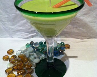 Martini Glass with Frangipani Soy Candle
