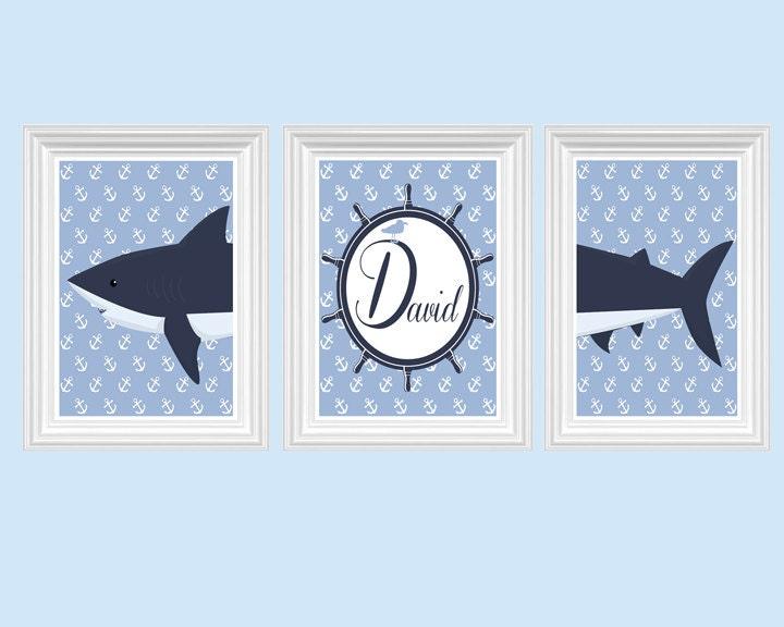 Shark Nursery Decor Personalized Name Navy Blue Wall Art Ocean