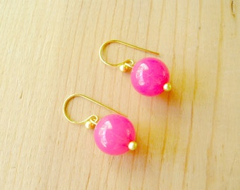 Hot Pink earrings, Hot Pink statement earrings