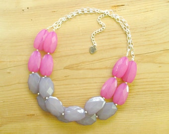 Hot Pink and Gray necklace, Hot pink and grey statement necklace