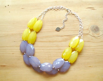 Gray and Yellow Necklace, Yellow Gray statement necklace