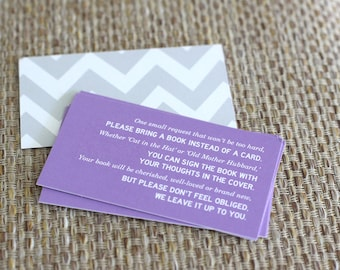 """Printable invitation enclosure - Baby Girl Shower -  Chevron """"Bring a Book Instead of a Card"""" - Customizable"""