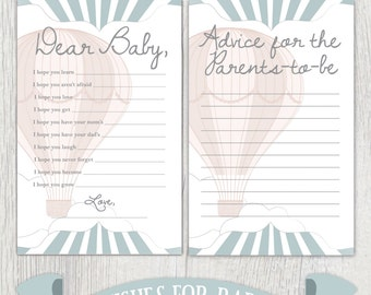 """Printable baby shower sheets - Hot air balloon baby shower -  """"Wishes for baby"""" - Advice for parents-to-be - Shower games - Customizable"""