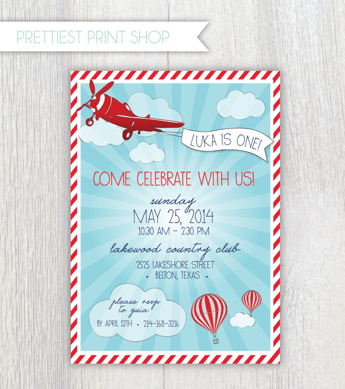 Printable invitation Vintage airplane and hot air balloon