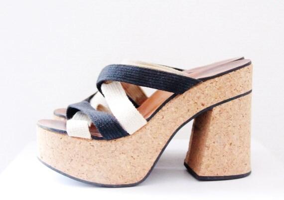 SALE 30% 90s cork platform sandals 70s style black white