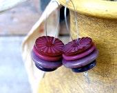 """Purple & Mauve Vintage Button Earrings - """"Punchy"""""""