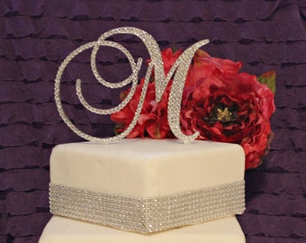 "5"" Monogram Wedding Cake Topper Initial with Swarovski Crystals in any letter  A B C D E F G H I J K L M N O P Q R S T U V W X Y Z"
