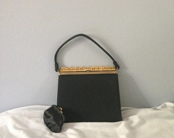 After Five Black Fabric Vintage Handbag Gold Tone and Rhinestone Trim and Change Purse