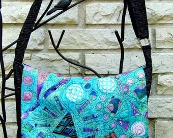 Messenger Bag - Appliqued Teal Batik
