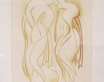 """Alexander Archipenko """"Bathers"""" - 1950 - Signed Color Lithograph - COA - See Live at GallArt"""