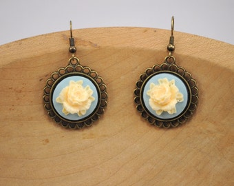 Yellow Rose Cameo, Antique Brass Finish Earrings, Bohemian Earrings, Yellow Rose Earrings, Wedding, Bridal, Something Blue