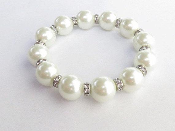 Large Pearl Bracelet Swarovski Crystal Stretch Bracelet Minimalist Jewelry Wedding Bracelet Bride Bracelet Bridal Jewelry Bridesmaid Gift