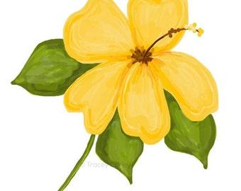 Yellow hibiscus art   Etsy